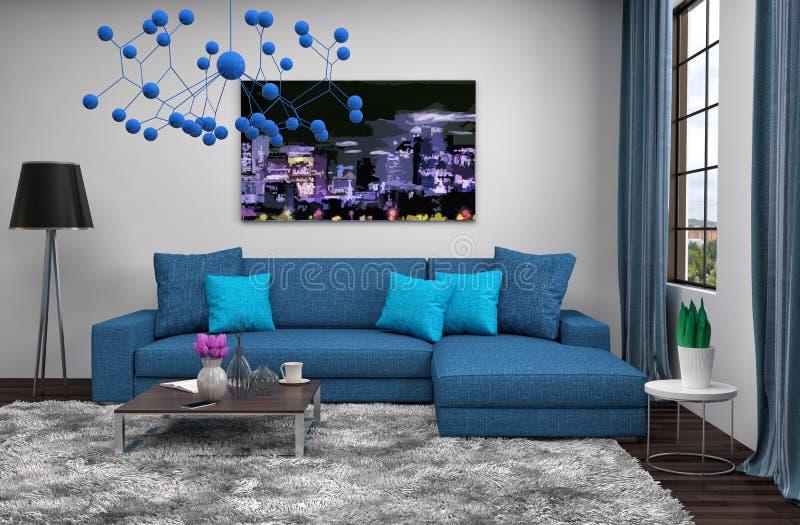 Интерьер с голубой софой иллюстрация 3d иллюстрация вектора