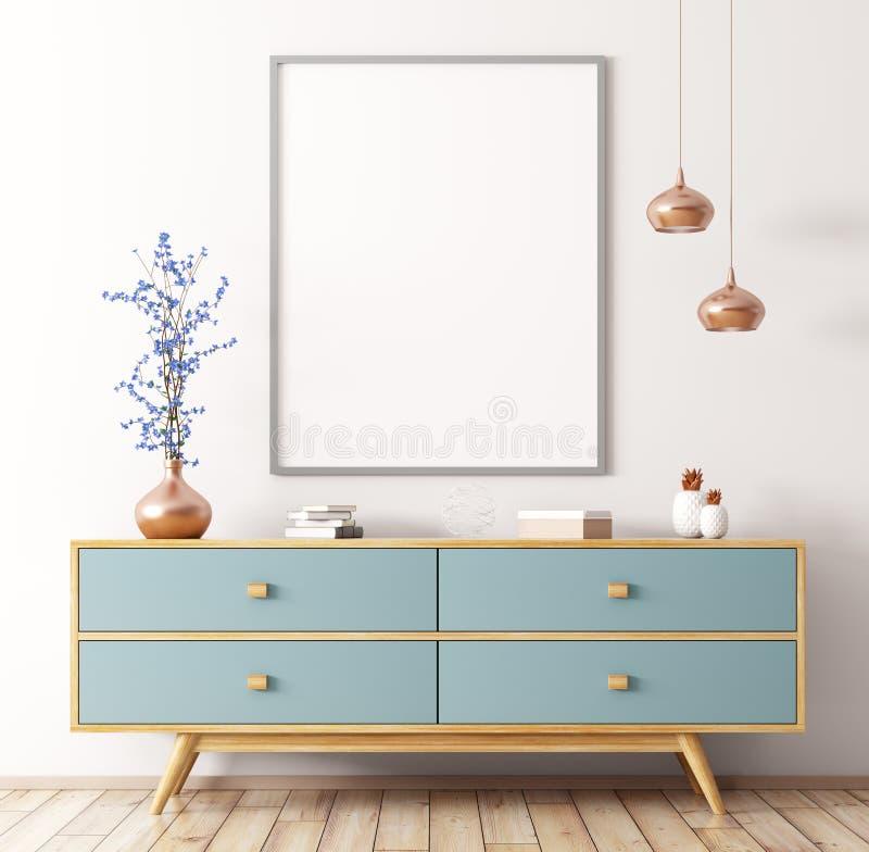 Интерьер с деревянным переводом дрессера и плаката 3d иллюстрация штока