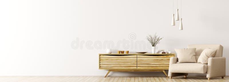 Интерьер с деревянным переводом шкафа и кресла 3d иллюстрация штока