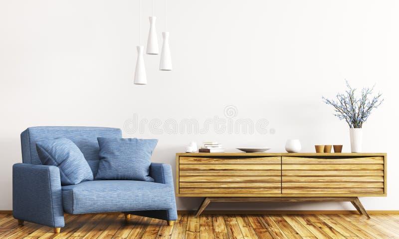 Интерьер с деревянным переводом шкафа и кресла 3d иллюстрация вектора