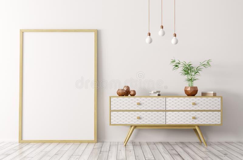 Интерьер с деревянным sideboard и насмешка вверх по переводу рамки 3d иллюстрация штока