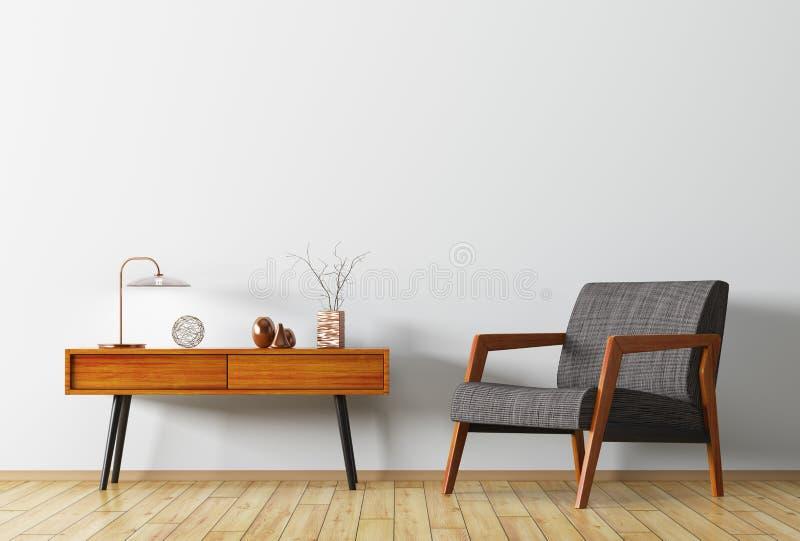 Интерьер с деревянным бортовым переводом таблицы и кресла 3d иллюстрация вектора