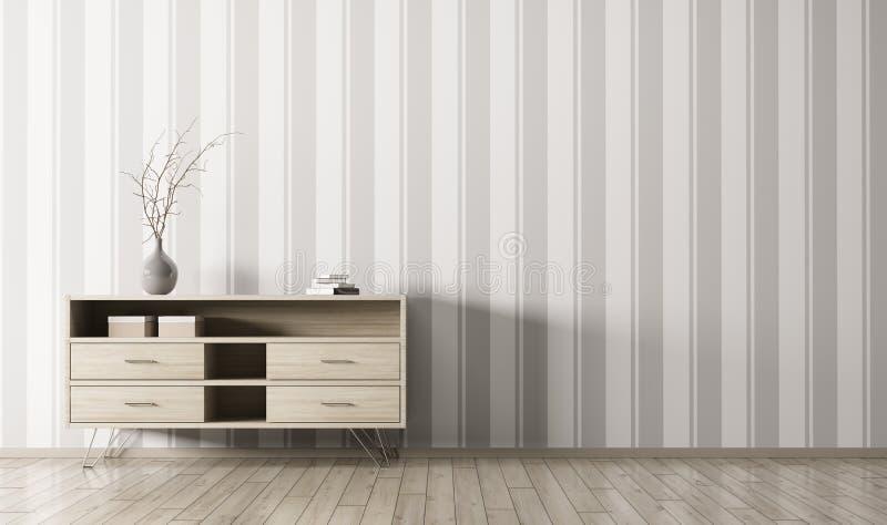 Интерьер с деревянным переводом шкафа 3d иллюстрация штока