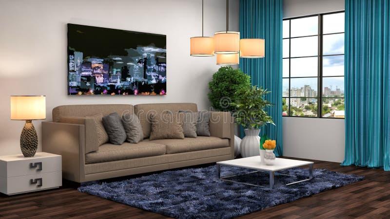 Интерьер с коричневой софой иллюстрация 3d иллюстрация штока