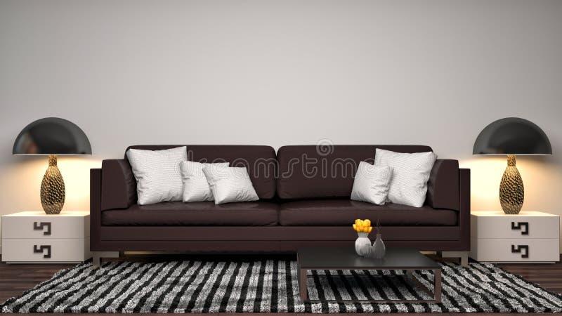 Интерьер с коричневой софой иллюстрация 3d бесплатная иллюстрация