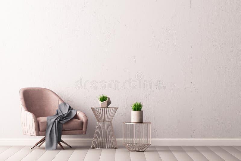Интерьер с креслом и маленькой таблицей на предпосылке пустой стены, 3D представляет, иллюстрация 3d бесплатная иллюстрация