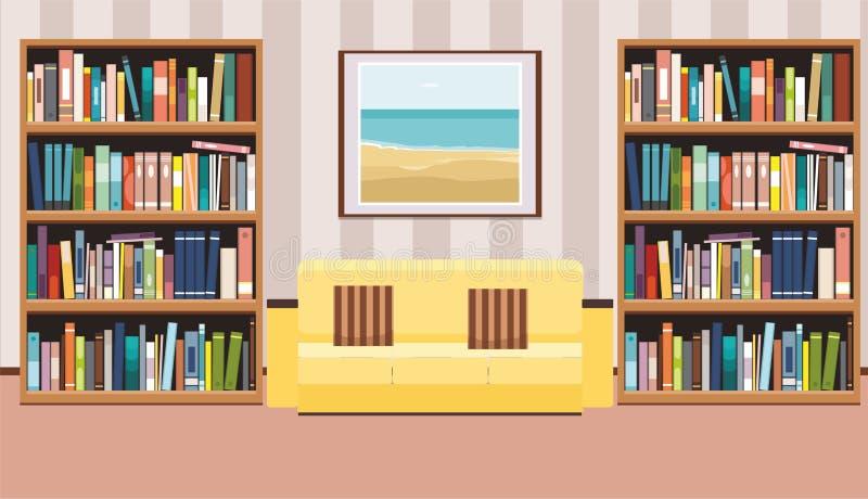 Интерьер с плакатом, софой с подушками и книжными полками иллюстрация штока