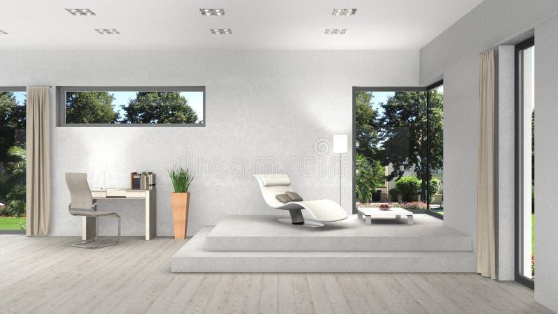 Интерьер с современными окнами и взгляд к саду бесплатная иллюстрация