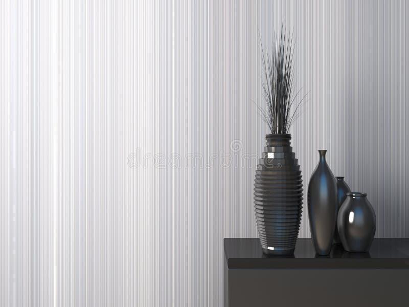 Интерьер с черной вазой иллюстрация 3d иллюстрация вектора