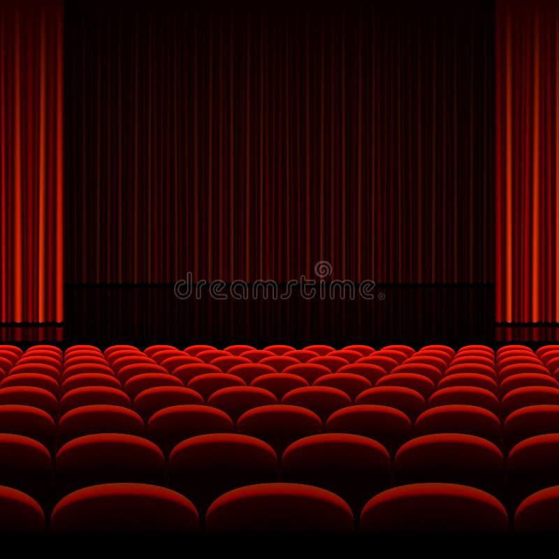Интерьер театра с красными занавесами и местами бесплатная иллюстрация