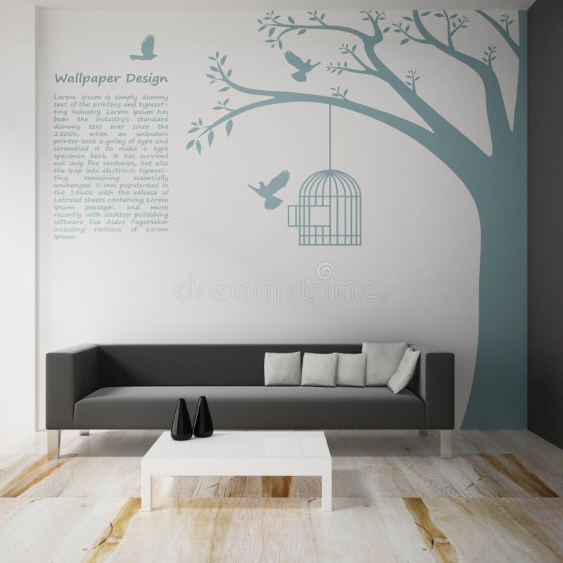 Интерьер украшает дизайна обоев иллюстрация вектора