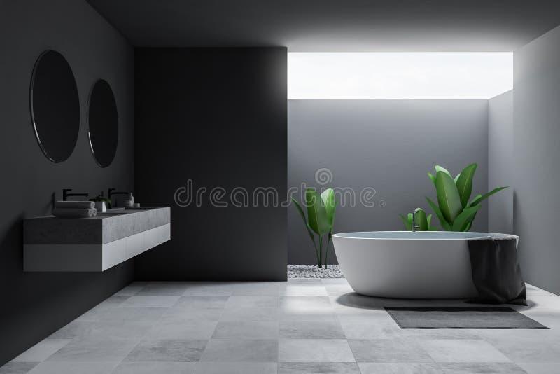 Интерьер, ушат и раковина ванной комнаты просторной квартиры большие серые иллюстрация штока