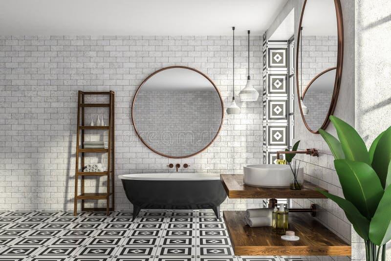 Интерьер, ушат и раковина bathroom кирпича бесплатная иллюстрация