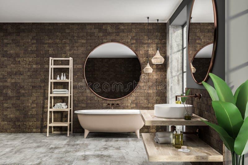 Интерьер, ушат и раковина bathroom кирпича иллюстрация вектора