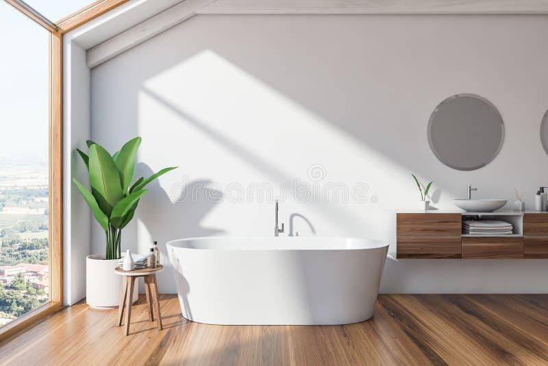 Интерьер, ушат и раковина bathroom просторной квартиры скандинавские иллюстрация вектора