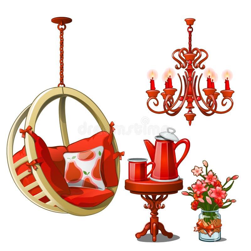 Интерьер уютных кафа или кухни в красном цвете Винтажный комплект мебели и чая изолированный на белой предпосылке вектор бесплатная иллюстрация