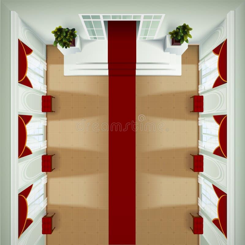 Интерьер фойе взгляд сверху иллюстрация вектора