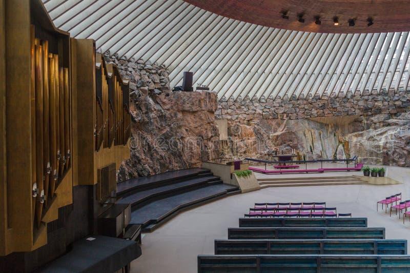 Интерьер церков в Хельсинки стоковое изображение