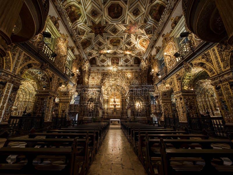 Интерьер церков и монастыря Sao Francisco, Сальвадор da Бахя, Br стоковое изображение rf