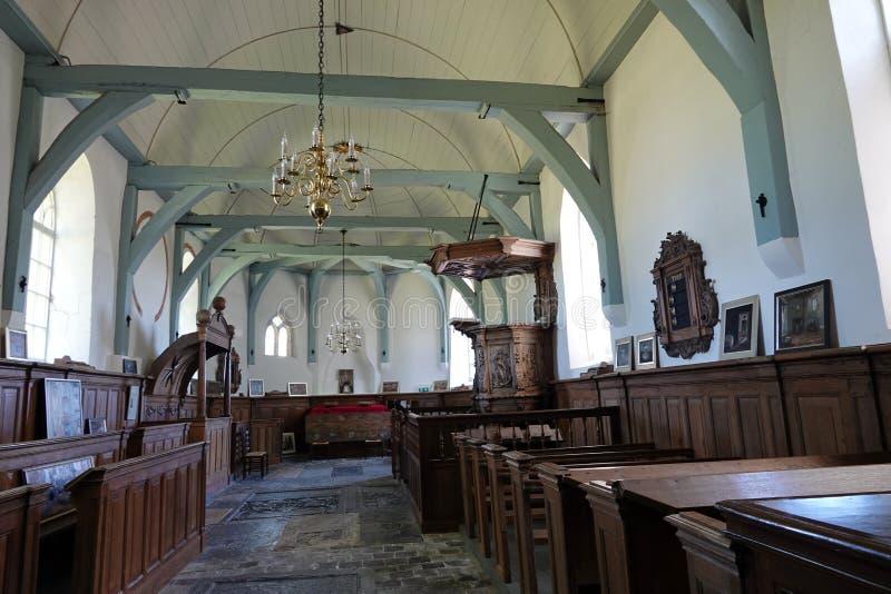 Интерьер церков Мария в медведях во Фрисландии, Нидерланд стоковое фото