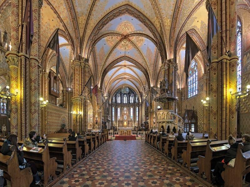 Интерьер церков Matthias в Будапеште, Венгрии стоковое изображение