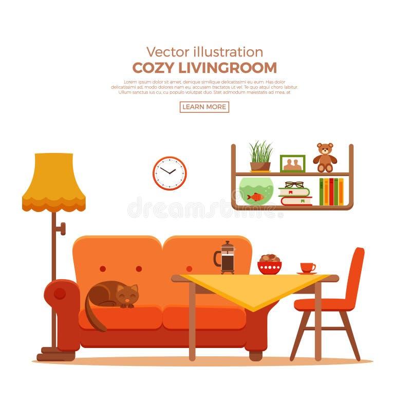 Интерьер шаржа живущей комнаты уютный красочный иллюстрация штока