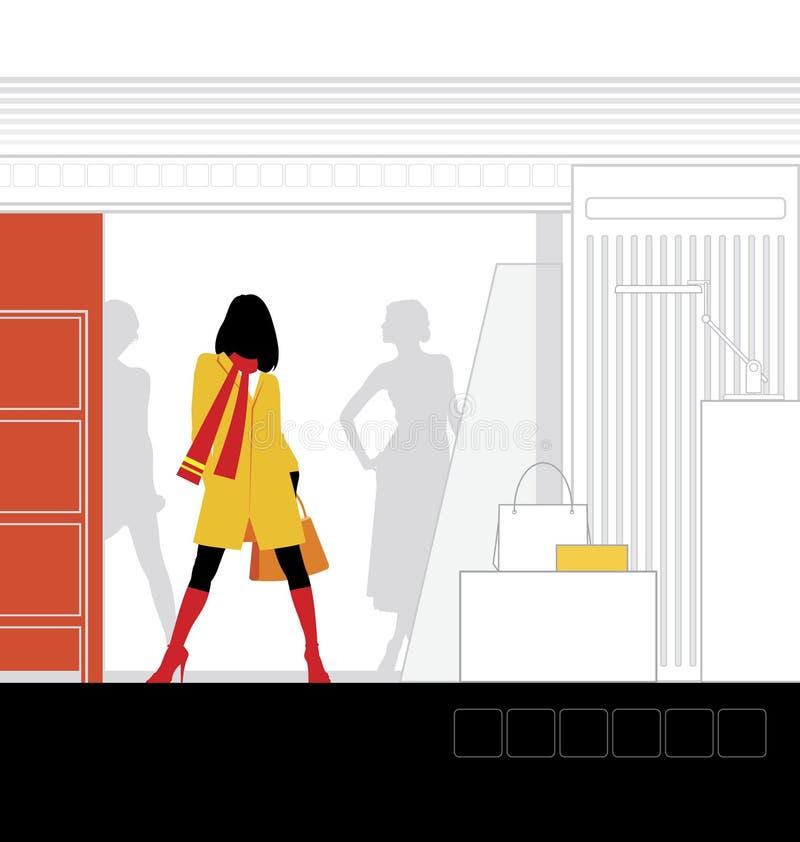 интерьер 3 бутиков иллюстрация вектора
