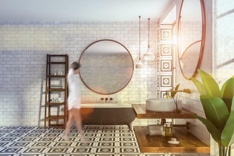Интерьер bathroom кирпича, ушат и раковина, женщина иллюстрация штока