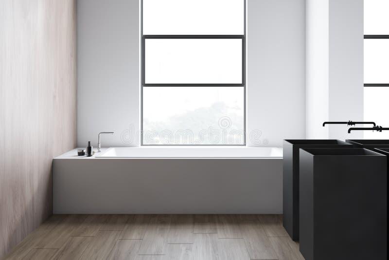 Интерьер bathroom просторной квартиры белый, ушат и двойная раковина иллюстрация штока