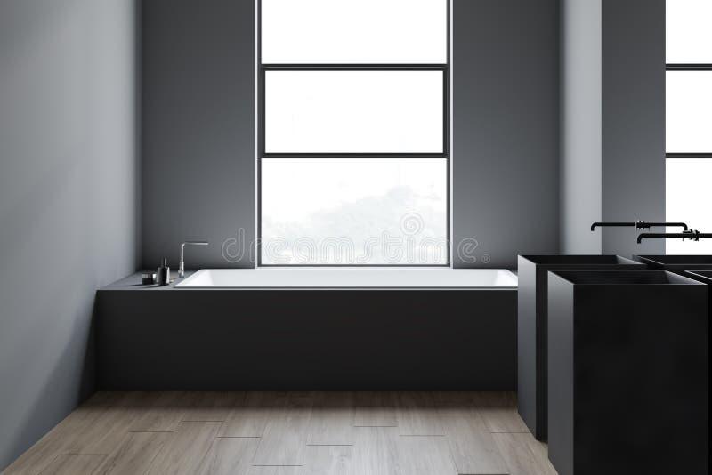 Интерьер bathroom просторной квартиры серый, ушат и двойная раковина иллюстрация штока