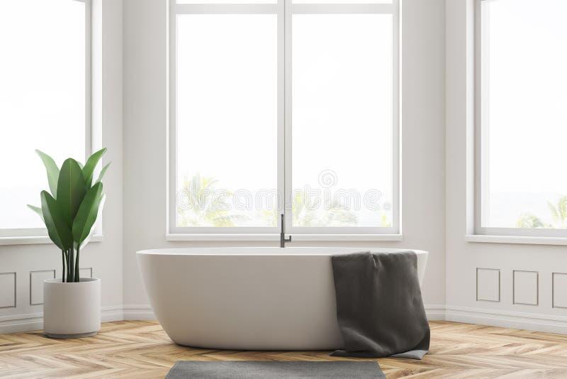 Интерьер bathroom Minimalistic белый, ушат иллюстрация штока