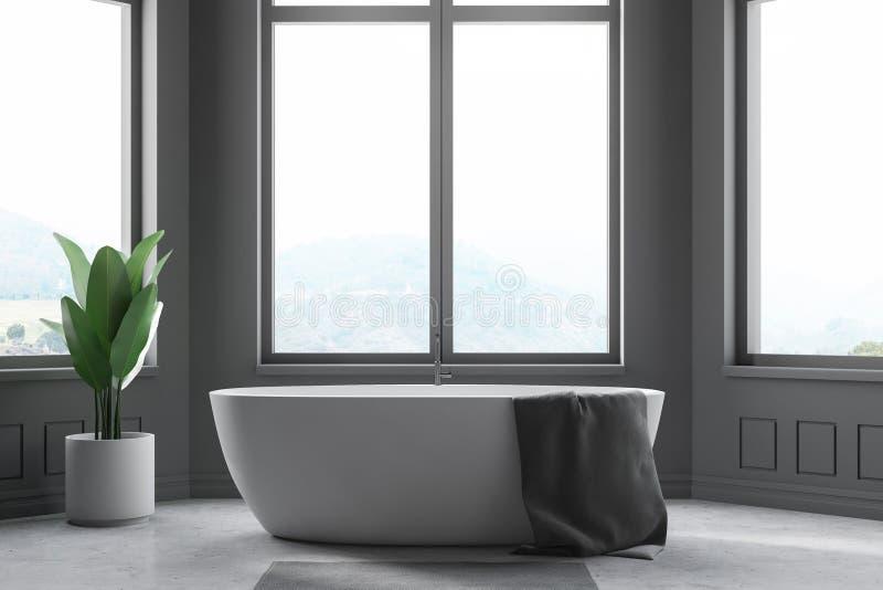 Интерьер bathroom Minimalistic серый, ушат иллюстрация штока