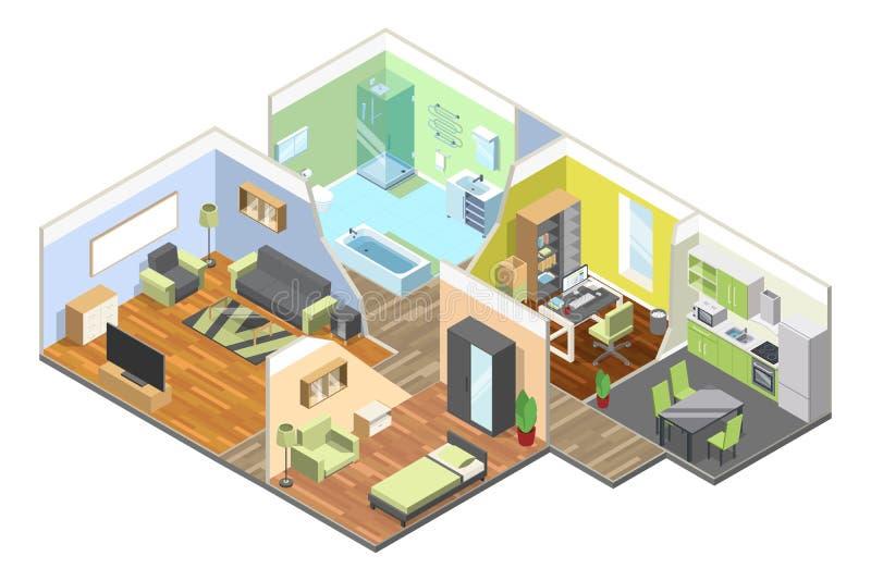 интерьер 3d современного дома с кухней, живущей комнатой, ванной комнатой и спальней Равновеликие установленные иллюстрации иллюстрация вектора
