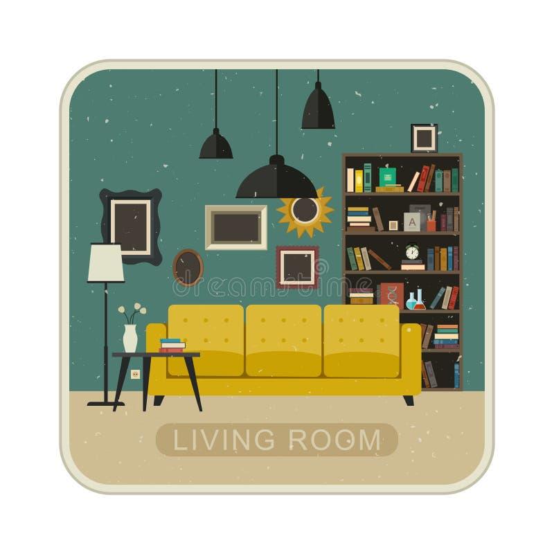 Интерьер grunge живущей комнаты иллюстрация вектора