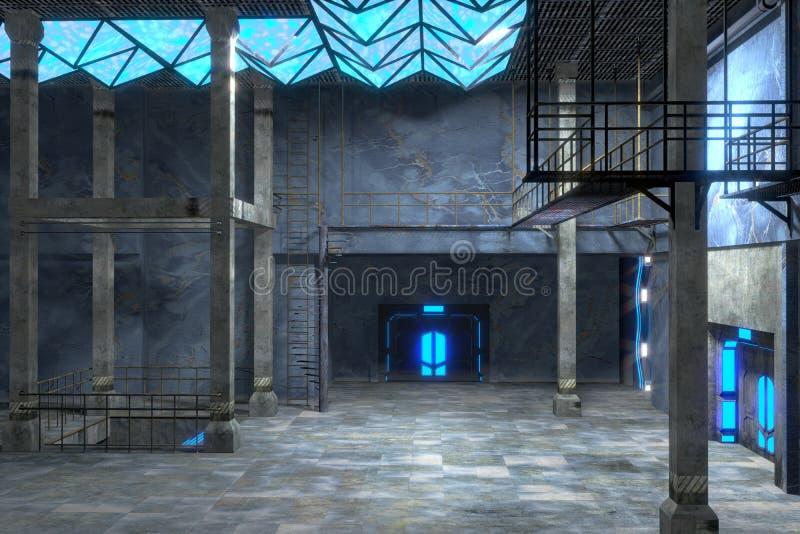 Интерьер grunge научной фантастики голубой иллюстрация вектора