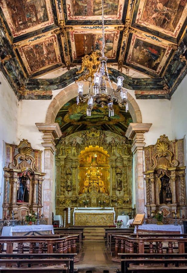 Интерьер Nossa Senhora делает церковь Rosario - Tiradentes, мины Gerais, Бразилию стоковые изображения rf