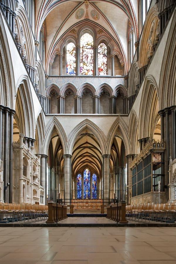 интерьер salisbury собора стоковое изображение rf