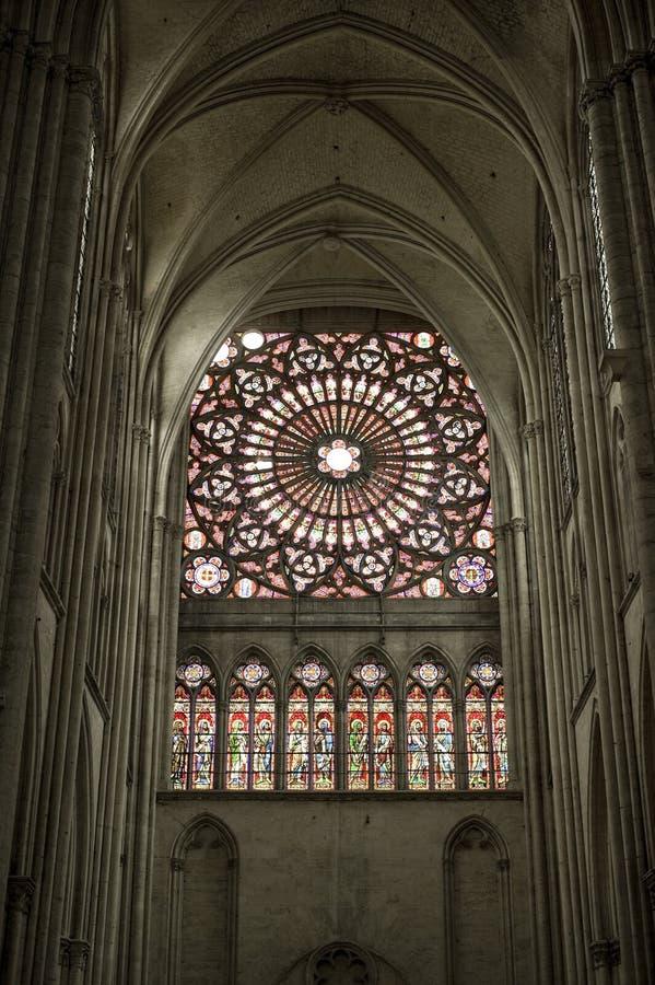 интерьер troyes собора стоковое фото rf