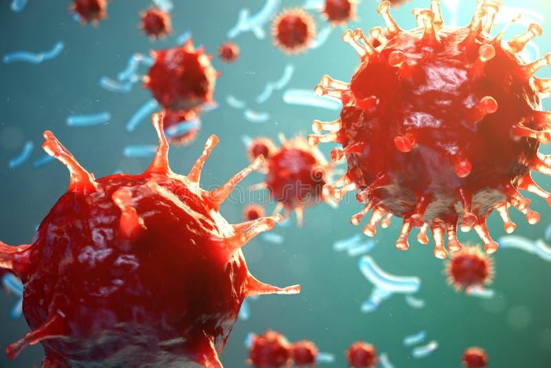 Инфекция вирусного гепатита причиняя хронические заболевание печени Вирусы гепатита Вирус гриппа H1N1 Свиной грипп, клетка заража иллюстрация вектора