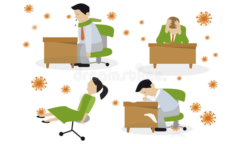 Инфекция инфлуензы ВИРУС Простуда иллюстрация штока
