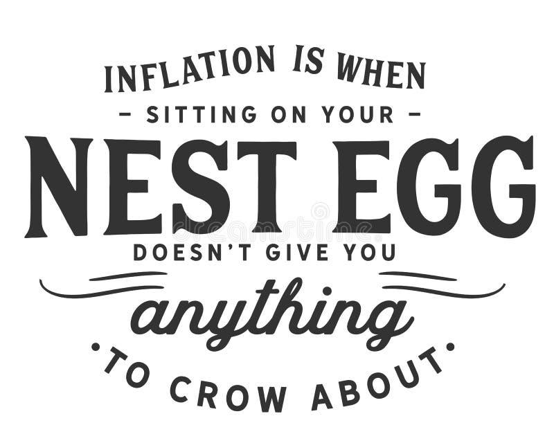 Инфляция когда сидеть на вашей заначке не дает вас что-нибудь кукарекать около иллюстрация вектора