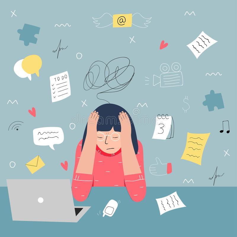 Информационная перегрузка и концепция проблем multitasking Плоская и handdrawn иллюстрация вектора иллюстрация штока
