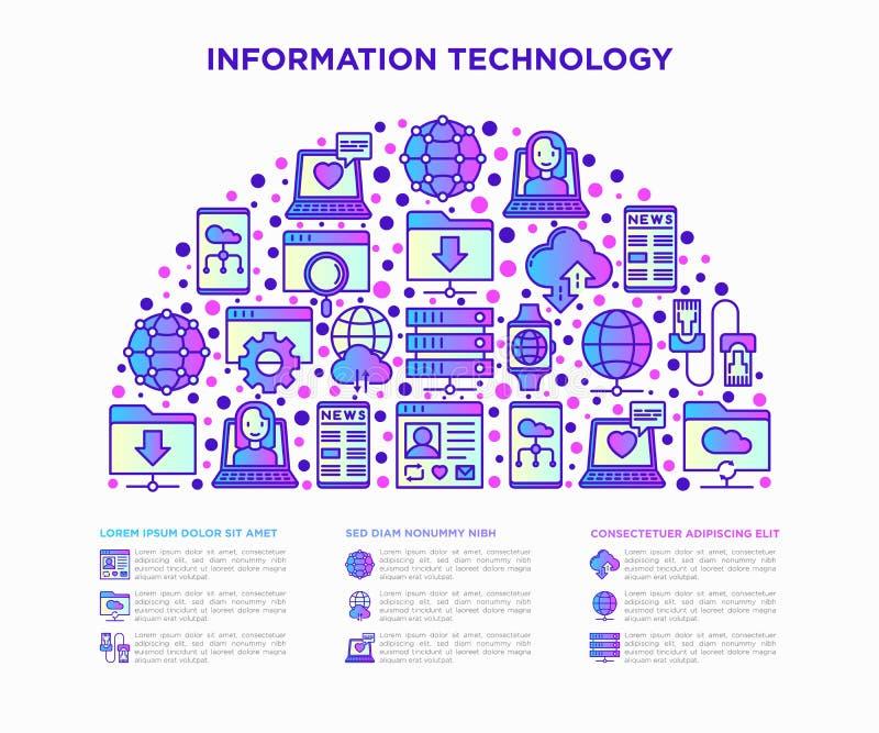 Информационная технология в линии значках полкруга тонкой: социальная сеть, системная резервная копия, поиск, сеть LAN, соединени бесплатная иллюстрация