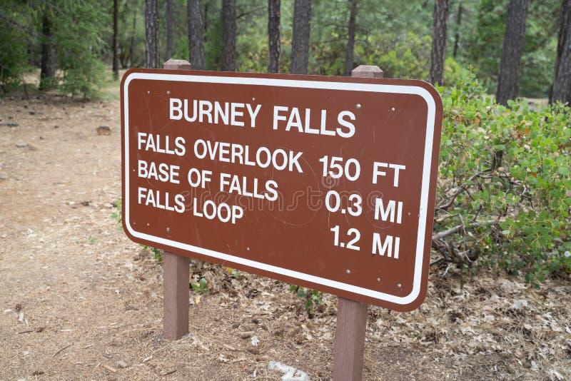 Информационный знак 'Trailhead' для троп вокруг Берни Фолс в парке штата Мак стоковая фотография