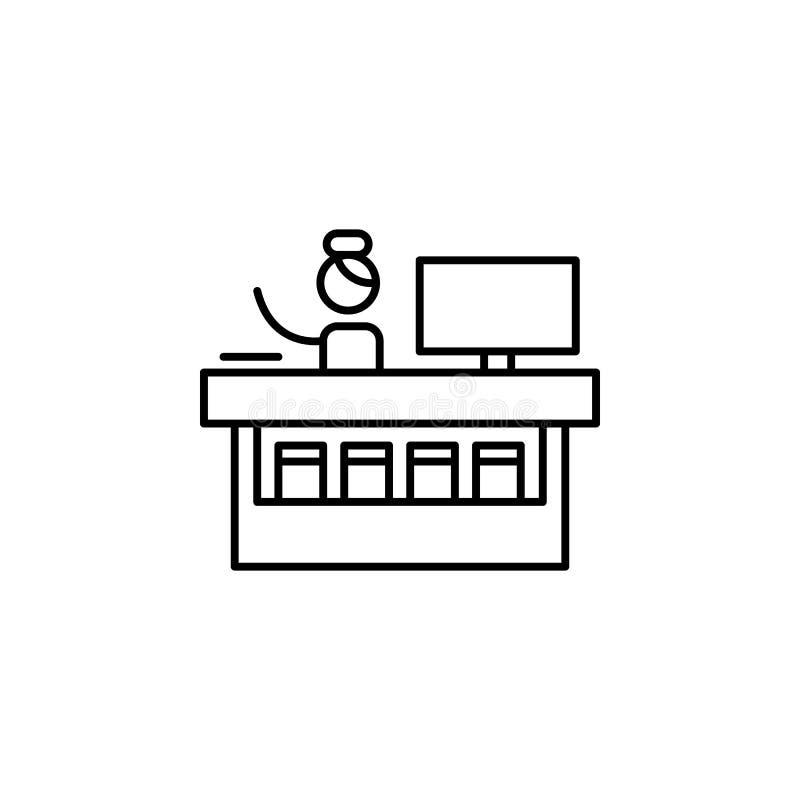 Информация, значок стола Элемент людей в линии значке перемещения Тонкая линия значок для дизайна вебсайта и развития, развития a иллюстрация штока
