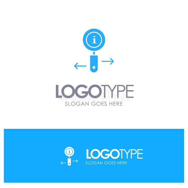 Информация, информация, масштаб, поиск синего твердого логотипа с местом для тега иллюстрация штока