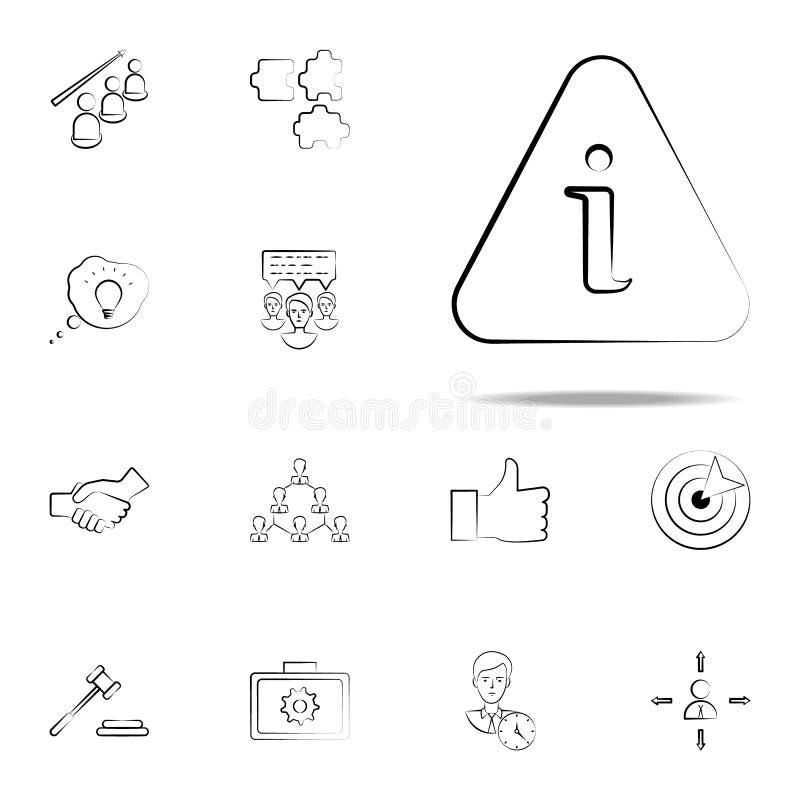 информация, около, помогает значку руки вычерченному Комплект значков дела всеобщий для сети и черни иллюстрация штока