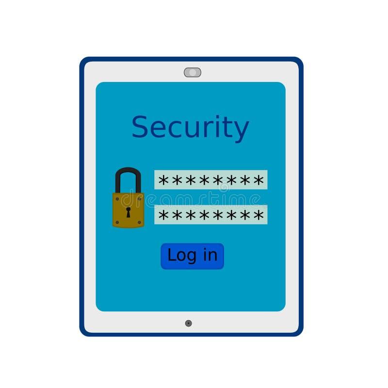 Информация о безопасности прибора планшета дела иллюстрация штока