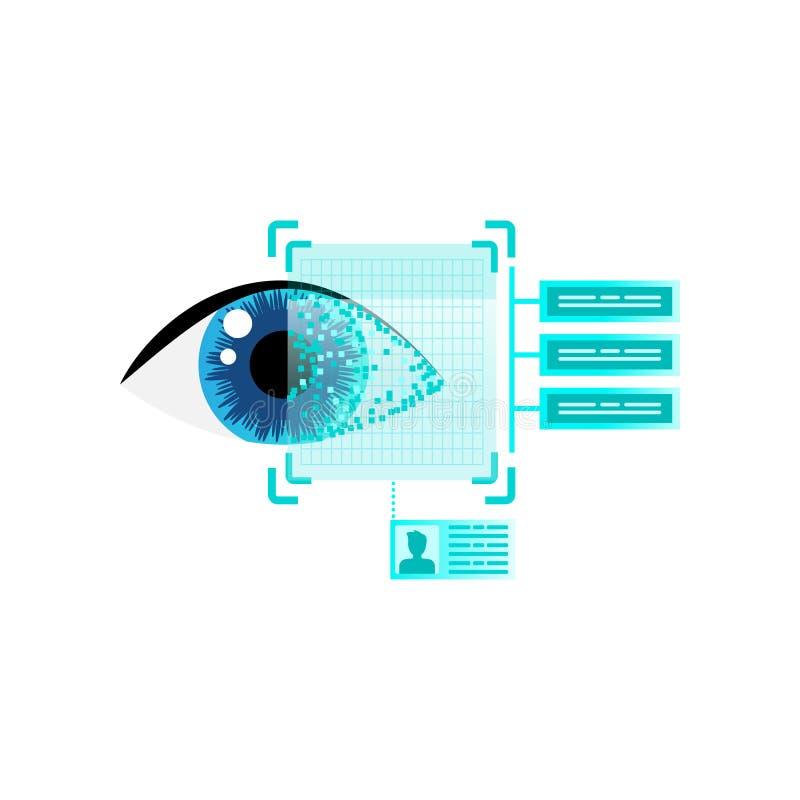 Информация о безопасности человеческой развертки зрачка читая для работы иллюстрация вектора
