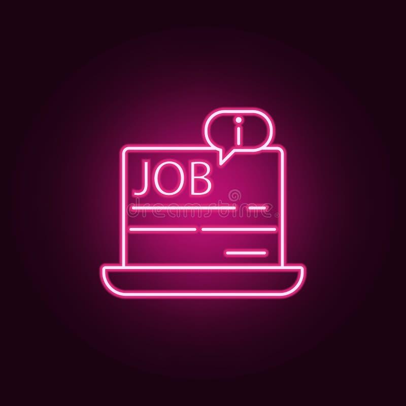 информация о работе в значке ноутбука Элементы интервью в неоновых значках стиля Простой значок для вебсайтов, веб-дизайн, иллюстрация штока
